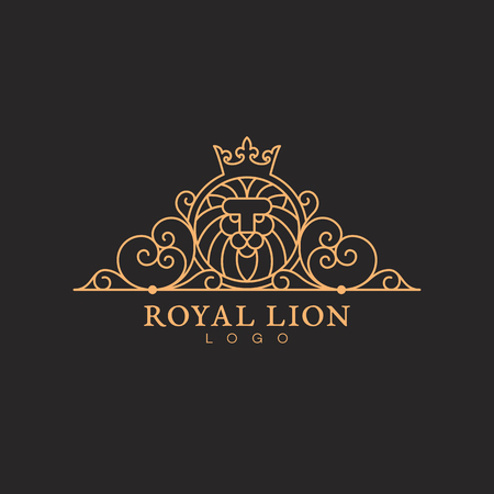 Vintage ornament label template with a lion head in trendy linear style. Vector illustration.