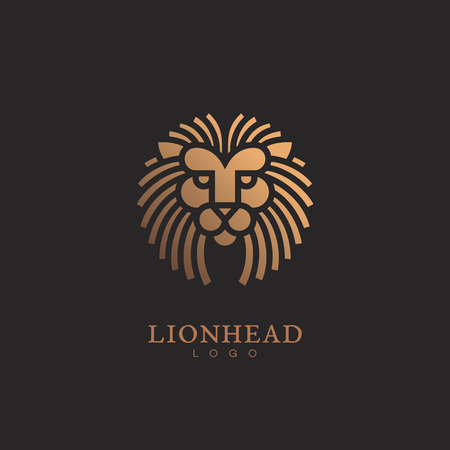 Golden round lion logo template design. Vector illustration. Stock Illustratie