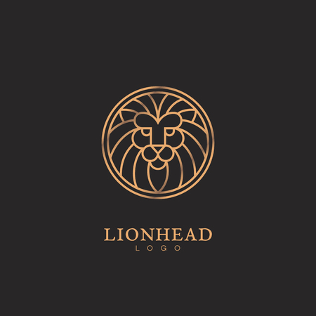 Golden round lion head logo template design in outline style. Vector illustration.
