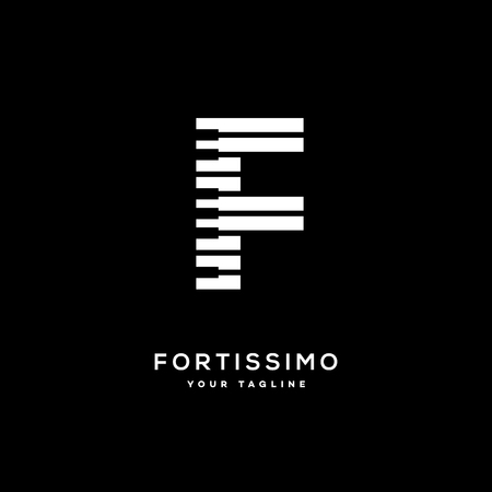 Fortissimo logo template design with stylized letter F. Vector illustration.