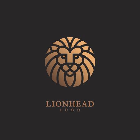 Golden round lion head icon template design. Vector illustration. Ilustrace