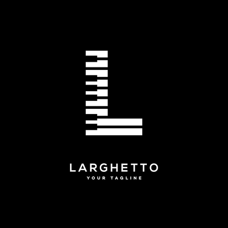 Larghetto icon template design with stylized letter L. Vector illustration. Ilustrace