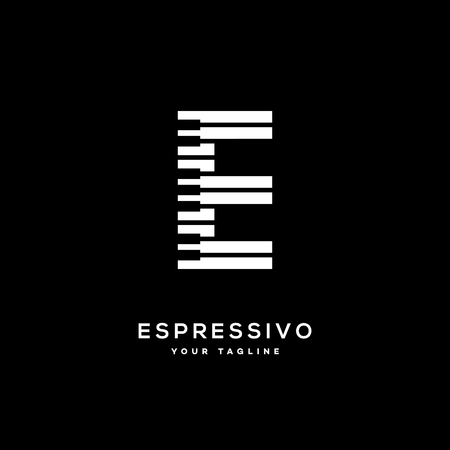 Espressivo icon template design with stylized letter E.