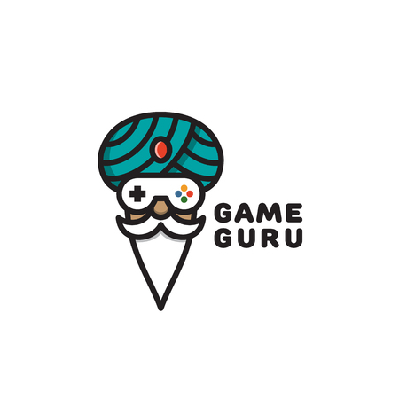 Game guru logo template design. Vector illustration. Illustration