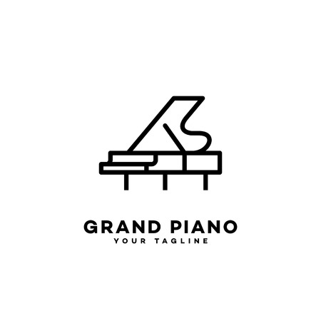 Grand piano logo template design in outline style. Vector illustration. Illustration