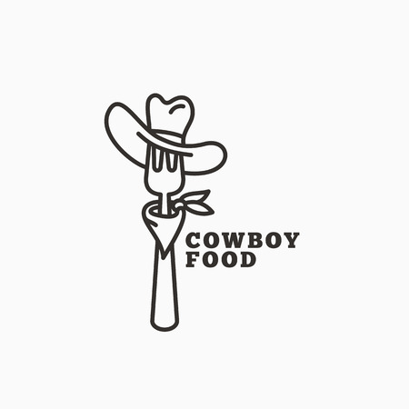 Cowboy food logo template design with a fork in a hat in outline style. Vector illustration.