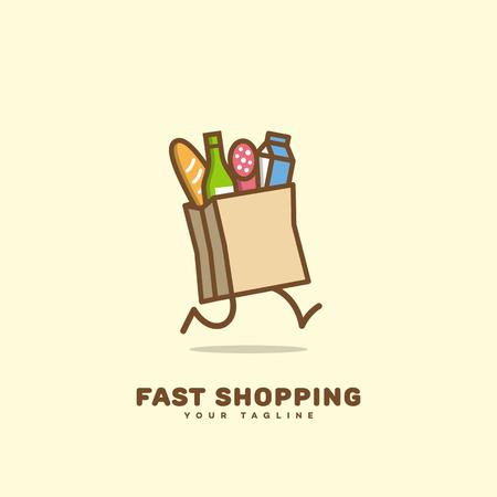 Projekt szablonu logo szybkiego zakupów z pakietem do biegania. Ilustracji wektorowych.