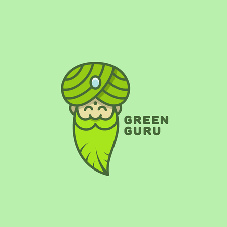 Colored green guru logo template design. Vector illustration. Illustration