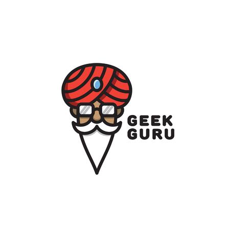 Geek guru logo template design. Vector illustration. Illustration
