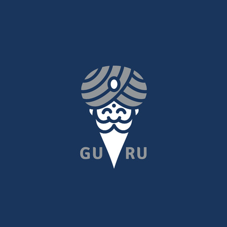 Guru logo template design. Vector illustration.