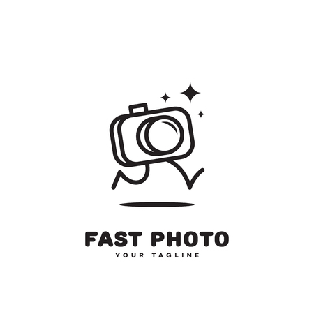 Fast photo logo template design with a running camera. Vector illustration.