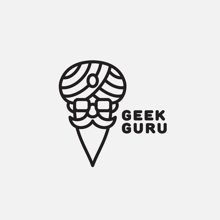 Geek guru logo template design in outline style. Vector illustration.