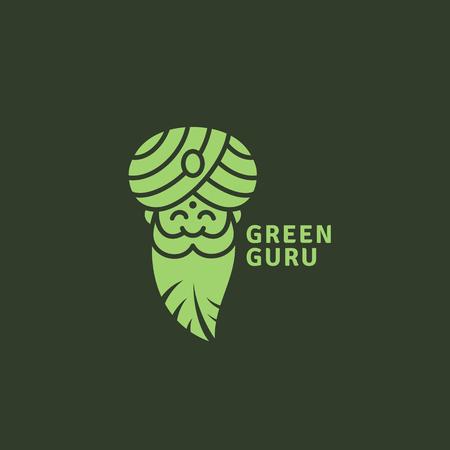 Green guru logo template design. Vector illustration.