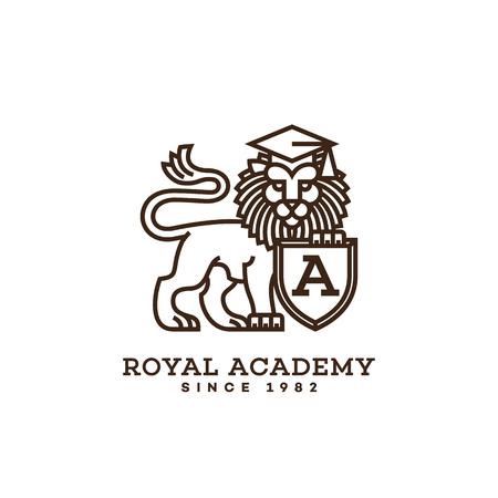 Lion logo template design with a shield for schools, colleges, universities, academies. Vector illustration.
