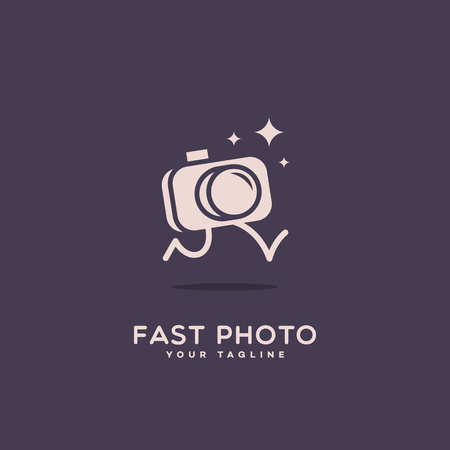 Fast photo logo template design with a running camera and sparkles. Vector illustration. Illustration