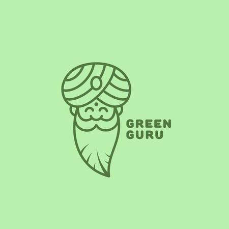 Green guru logo template design in outline style. Vector illustration.