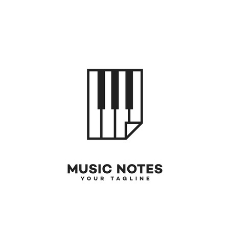 Music notes logo template design. Vector illustration.