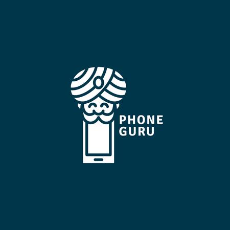 Phone guru logo template design. Vector illustration.