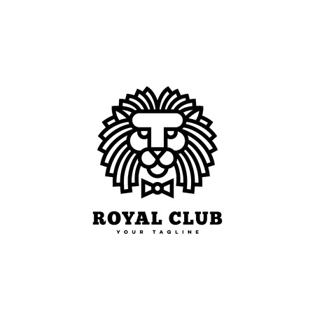 Royal club logo template design with a lion and bow tie in linear style. Vector illustration. 向量圖像