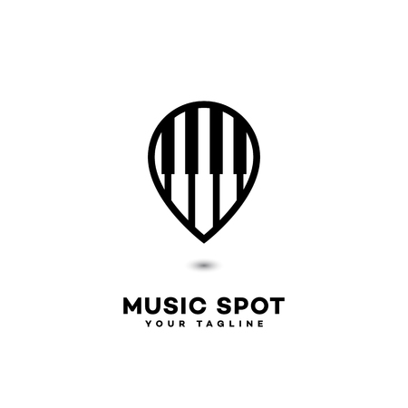 Music spot logo template design in outline style. Vector illustration.