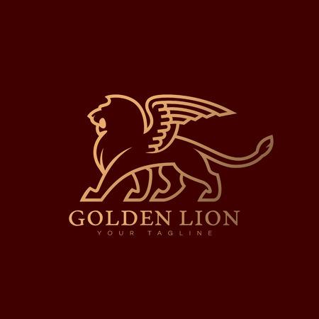 Golden lion with wings logo template design. Vector illustration.
