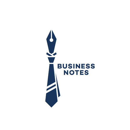 Business notes  template design with a ink pen and a tie. Vector illustration. Illusztráció