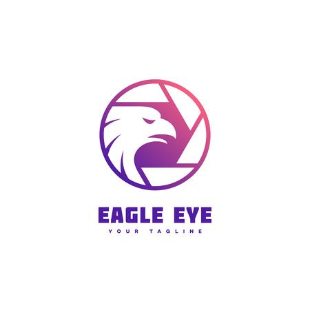 Modello di progettazione del logo dell'occhio d'aquila con riempimento sfumato uniforme. Illustrazione vettoriale.
