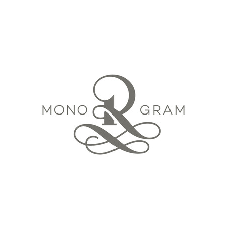 Monogram design template of letter R. Vector illustration. Illustration