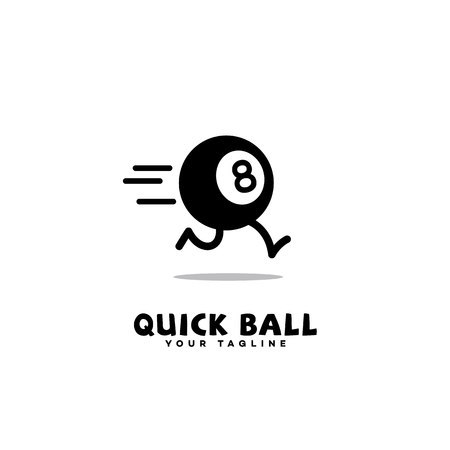 Logo template design with a running eight ball. Vector illustration.