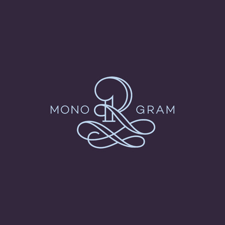 Monogram design template of letter R in linear style. Vector illustration.