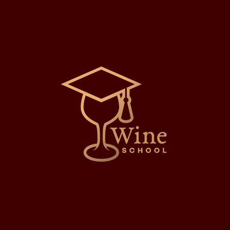 Wine school logo template design in linear style. Vector illustration. Illustration