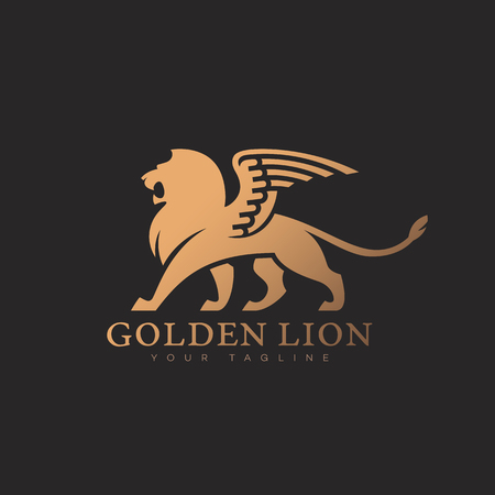Golden lion with wings logo template design on a dark background. Vector illustration. Vettoriali