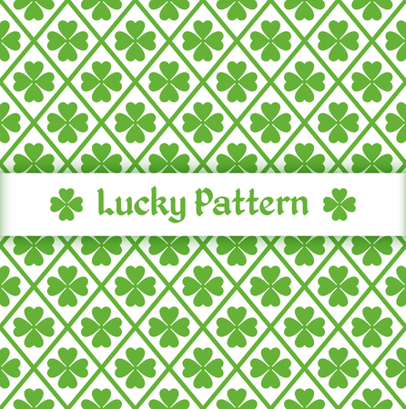 Seamless pattern with quatrefoil leaves and grid. Vector illustration.
