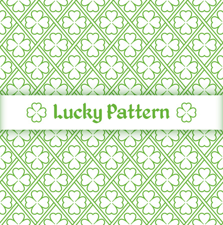 Seamless pattern with quatrefoil leaves and grid in outline style. Vector illustration.
