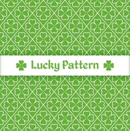 Seamless pattern with quatrefoil leaves and grid on a green background. Vector illustration. Illusztráció