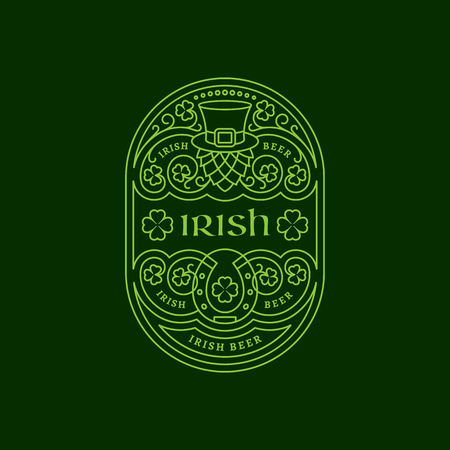 Outline oval badge with a hop in a hat, horseshoe, shamrock leaves, floral ornament. Vector illustration.