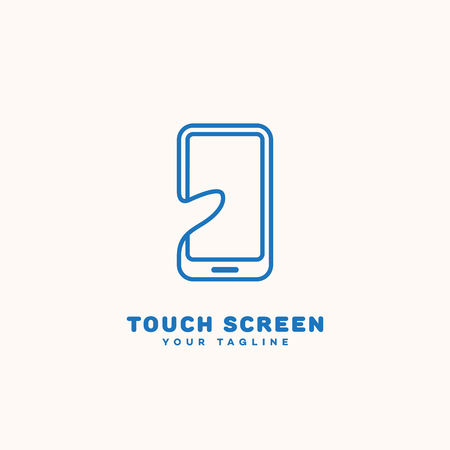 Touch screen logo template design in linear style. Vector illustration.