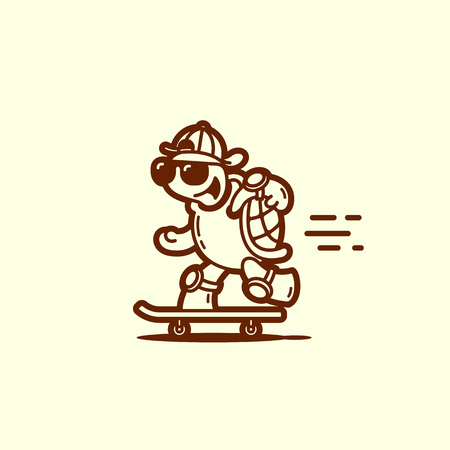 Funny turtle on a skateboard in linear style. Vector illustration.