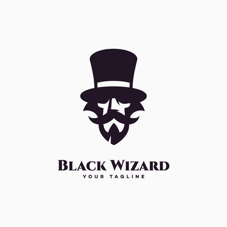 Black wizard logo design template. Vector illustration.