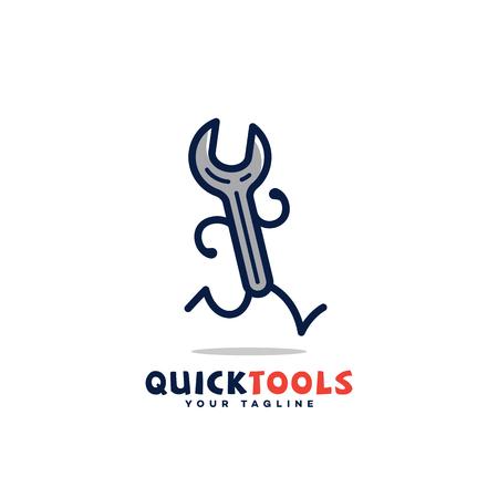Conception de modèle de logo d'outils rapides avec une clé courante. Illustration vectorielle.