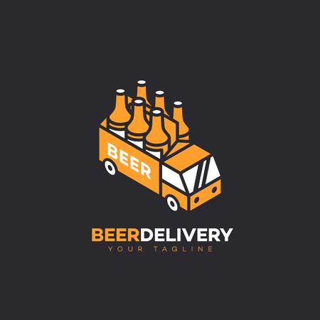Beer delivery logo design template. Vector illustration. Ilustrace