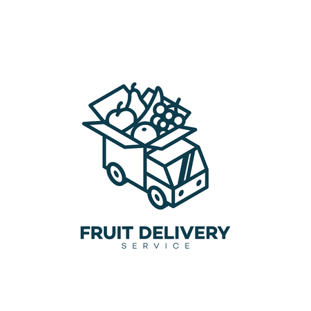 Isometric fruit delivery service logo design template in linear style. Vector illustration. Illusztráció