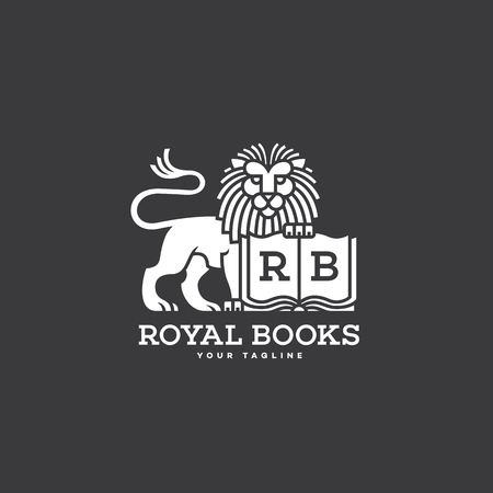 Lion with a book logo template design. Vector illustration.