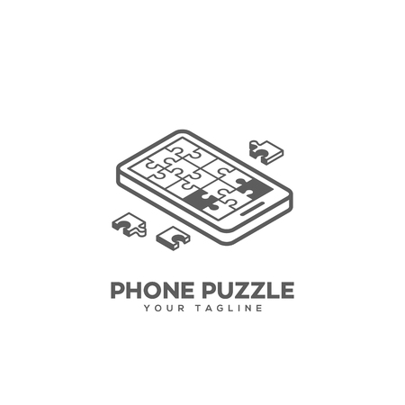 Isometric puzzle phone logo design template in linear style. Vector illustration.