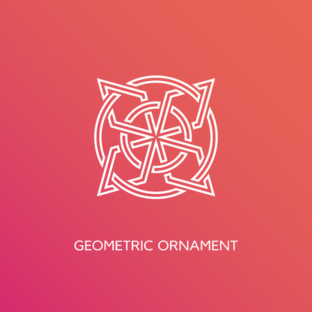 Geometric emblem design template in linear style on a smooth gradient background. Vector illustration. Illusztráció
