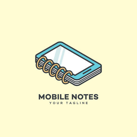 Isometric mobile notes logo design template. Vector illustration.