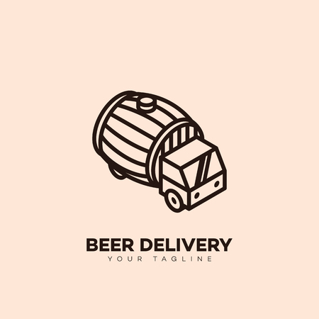 Beer delivery logo design template with a barrel in outline style. Vector illustration. Illusztráció