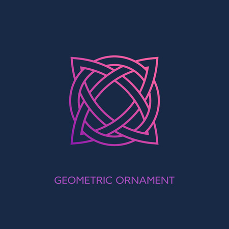 Geometric emblem design template with smooth gradient fill in linear style on a dark background. Vector illustration. Illusztráció