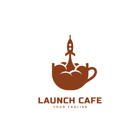 Launch cafe logo design template on a white background. Vector illustration.