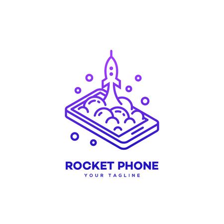 Isometric rocket phone logo design template in linear style. Vector illustration. Illustration